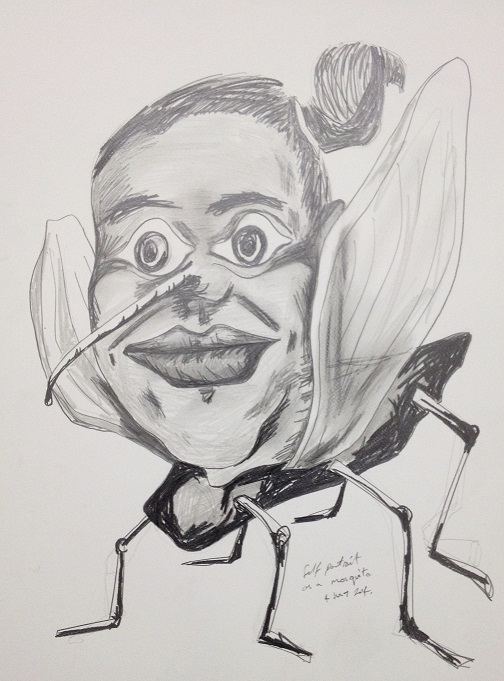Self portrait as a mosquito. Pencil on paper. 2014