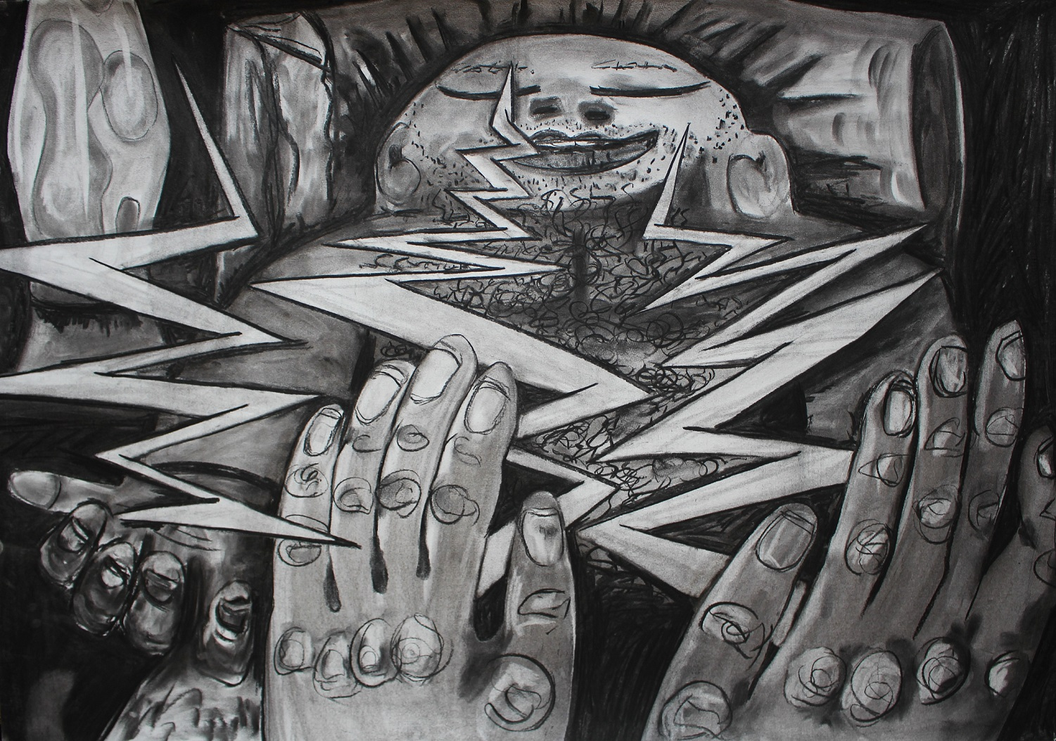 Passing electricity. Charcoal on paper. 100x70cm. 2016