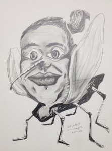 1. Self portrait as a mosquito. Pencil on paper. July 2014