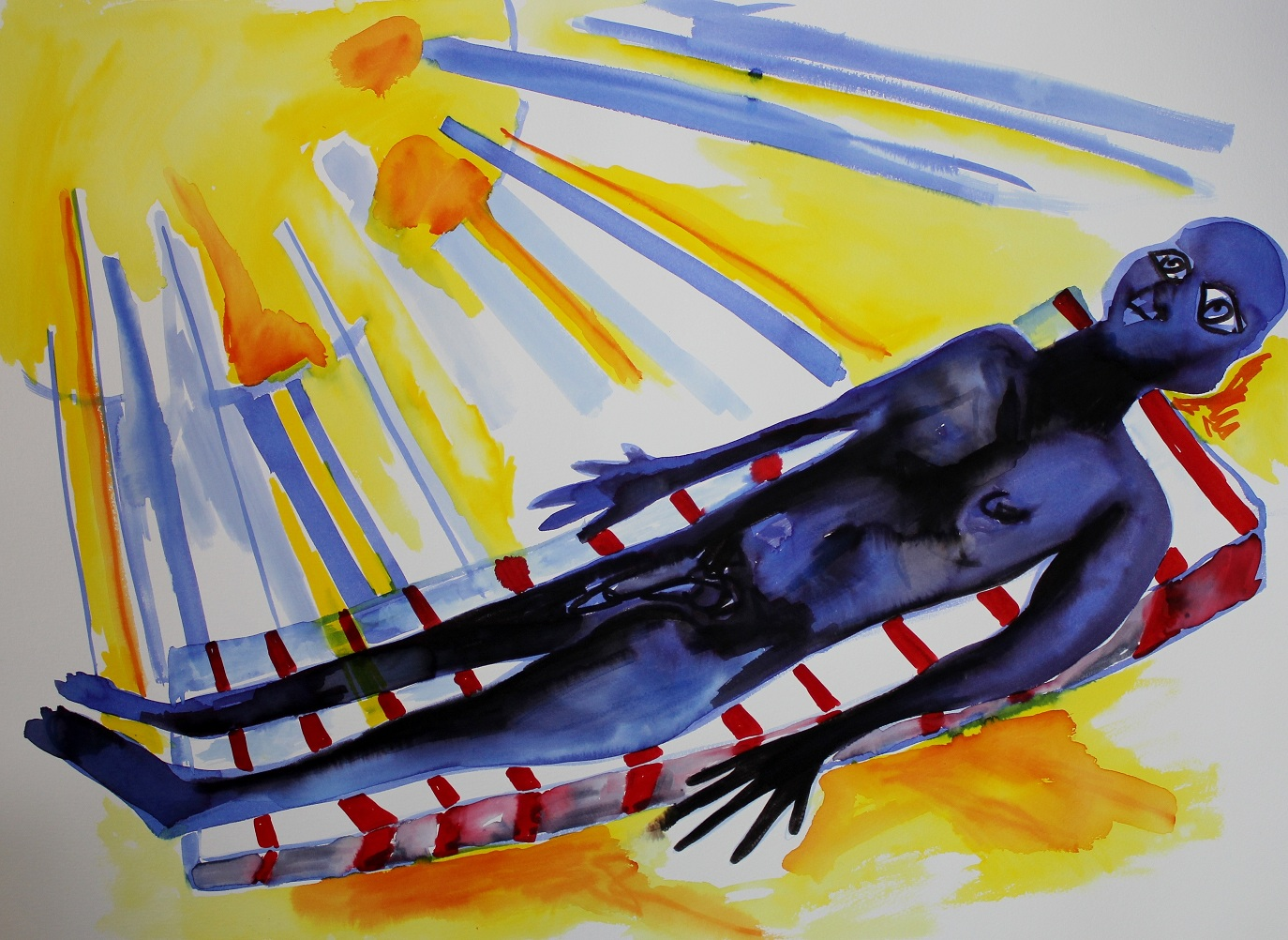 African sunbathe. Ink on paper. 76x56cm. 2013