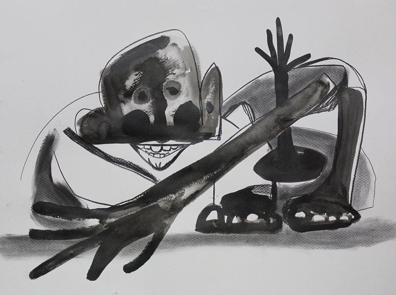 Kid. Ink, charcoal, graphite on paper. 48x36cm. 2013
