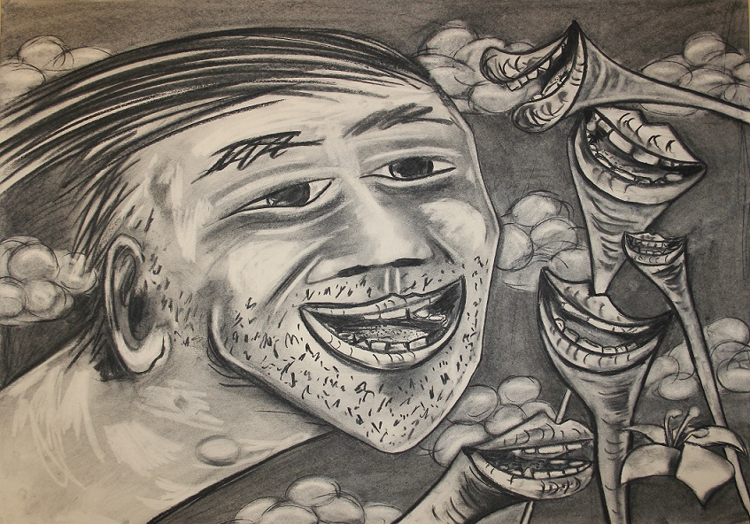 Smiling in amongst other smiles. Charcoal on paper. 100x70cm. 2015