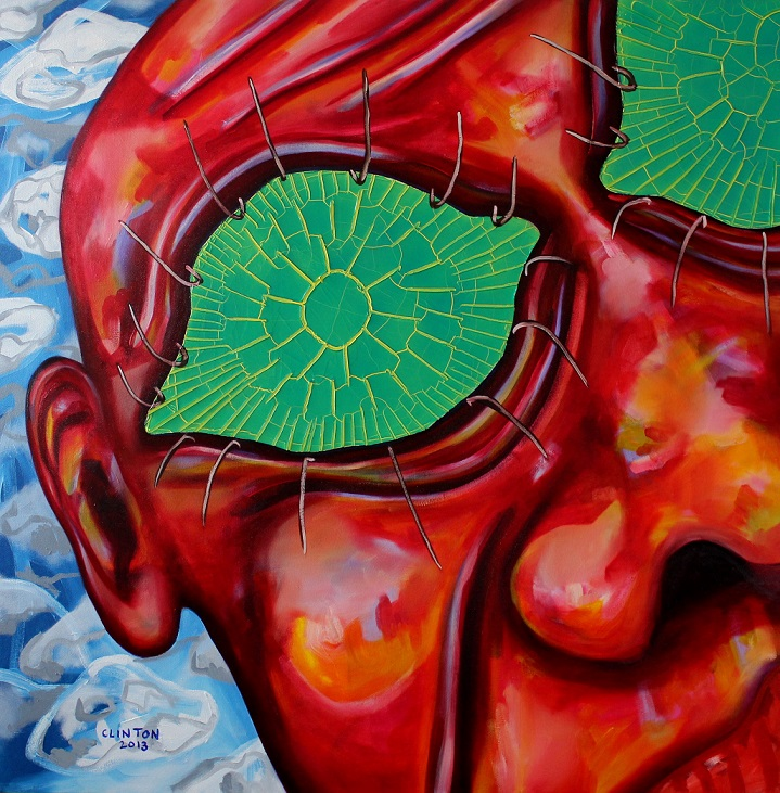 Cracked stare. mixed on canvas. 100x100cm. 2013