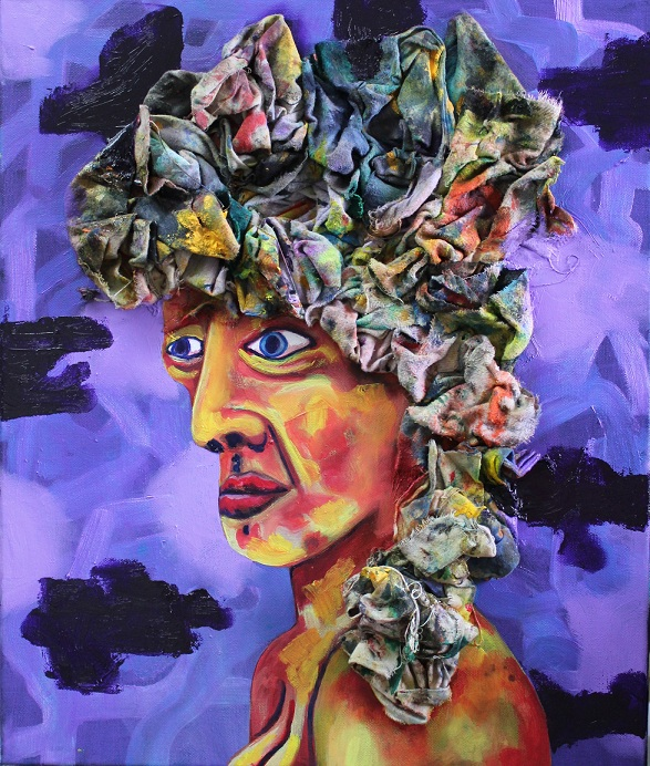 Portrait of a girl with painted rag hair. Oil/rags on canvas. 46x55cm. 2012