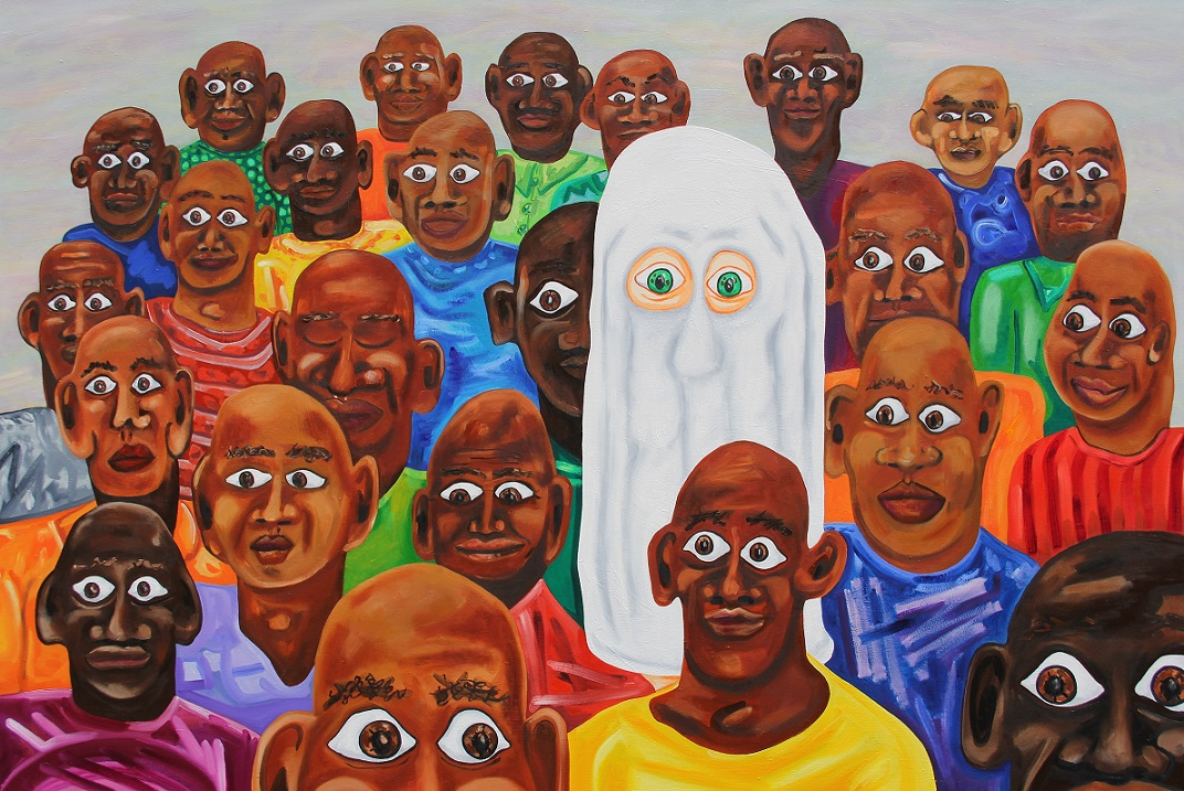 Ghost in a crowd. Oil on canvas. 150x100cm. 2014