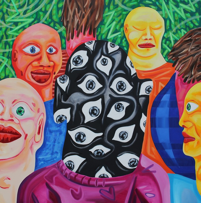 All Eyes out and about. Oil on canvas. 122x122cm. 2014