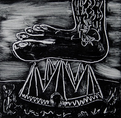 Foot on the tent. Monotype print. 2014