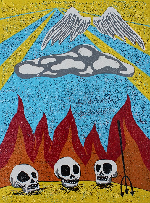 Lessons in Heaven and Hell. Woodcut print. 30x40cm. 2013