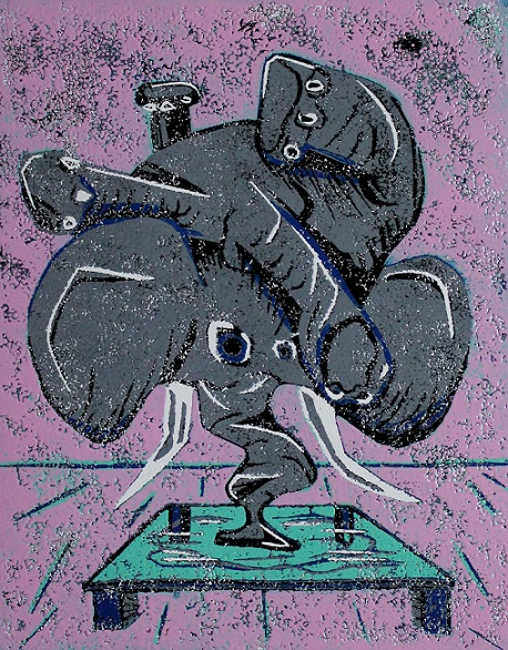 Elephant on glass. Woodcut print. 32x35cm. 2013