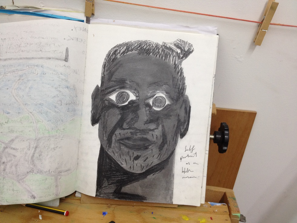 Self-portrait as a black man sketch created in Kenya