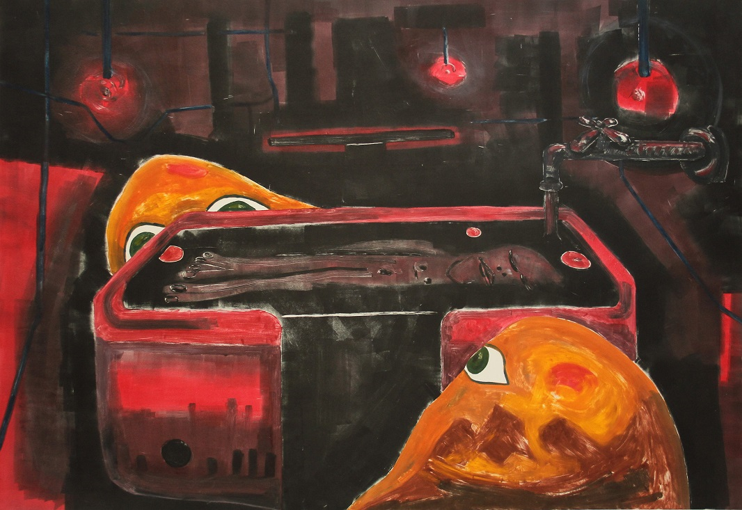 Red room in the marine laboratory. Monotype. 96x66cm. 2015